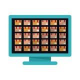 Pacchetto di consegna e progettazione isolati del computer illustrazione di stock