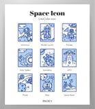Pacchetto di LineColor delle icone della struttura dello spazio royalty illustrazione gratis