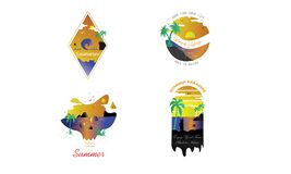 Pacchetto di progettazione di logo di estate royalty illustrazione gratis