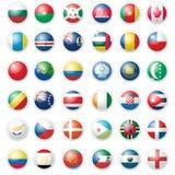 Pacchetto di quasi 40 bandierine dell'icona sopra bianco Immagini Stock Libere da Diritti