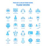 Pacchetto di Team Work Blue Tone Icon - 25 insiemi dell'icona illustrazione di stock