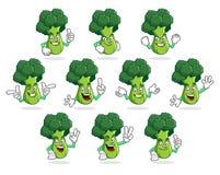 Pacchetto di vettore della mascotte dei broccoli, serie di caratteri dei broccoli, vettore Fotografie Stock Libere da Diritti