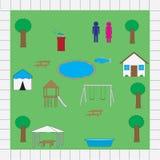 Pacchetto di vettore delle icone della mappa del parco Immagini Stock