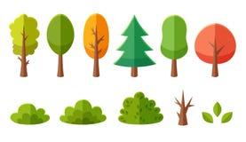 Pacchetto isolato degli alberi e dei cespugli del fumetto Fotografie Stock Libere da Diritti