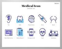 Pacchetto medico di LineColor delle icone illustrazione di stock