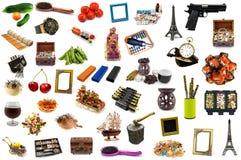 Pacchetto mega degli oggetti dettagliati isolati Fotografia Stock Libera da Diritti
