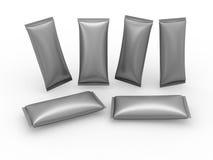 Pacchetto metallico dell'involucro di flusso dello spazio in bianco della stagnola Fotografie Stock