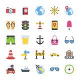 Pacchetto piano dell'icona di viaggio e di turismo illustrazione vettoriale