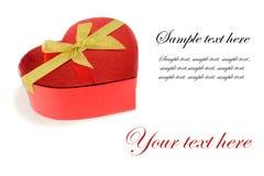 Pacchetto rosso del regalo del cuore Fotografie Stock