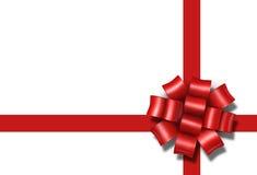 Pacchetto rosso a della casella del presente del regalo dell'arco del nastro Fotografia Stock