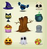 Pacchetto spaventoso delle icone di Halloween del fumetto di vettore illustrazione di stock