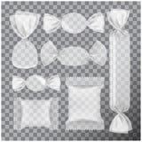 Pacchetto trasparente della stagnola per le caramelle ed altri prodotti, derisione del pacchetto dello spuntino dell'alimento su illustrazione di stock