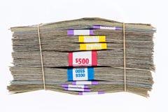 Pacchi delle banconote in dollari differenti di denominazione Fotografie Stock Libere da Diritti