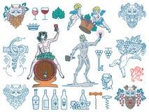 Pacco dei distintivi e delle icone del vino colorato Immagine Stock