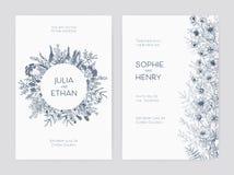 Pacco dei modelli eleganti dell'invito della festa nuziale decorati con i bei fiori e la corona rotonda disegnati a mano con illustrazione vettoriale