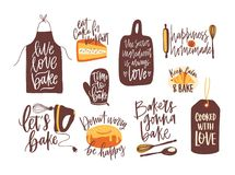 Pacco di iscrizione scritto con la fonte calligrafica e decorato con articolo da cucina per cuocere ed alimento al forno Insieme  illustrazione vettoriale
