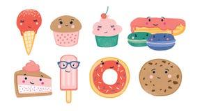 Pacco di vari dessert dolci e delle confezioni al forno con i fronti sorridenti svegli isolati su fondo bianco adorable illustrazione di stock