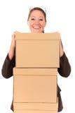 Pacco postale della donna di affari Immagine Stock