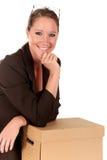 Pacco postale della donna di affari Fotografia Stock Libera da Diritti