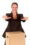 Pacco postale della donna di affari Immagini Stock