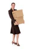 Pacco postale della donna di affari Fotografie Stock