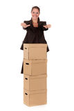 Pacco postale della donna di affari Immagine Stock Libera da Diritti