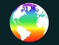 Pace 1. Illustration of terrestrial globe with rainbow flag Royalty Free Stock Photography