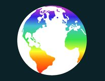 Pace 2. Illustration of terrestrial globe with rainbow flag Royalty Free Stock Photography