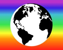 Pace 3. Illustration of terrestrial globe with rainbow flag Royalty Free Stock Photography