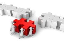 Pace bianca di 3d Team Push Last Jigsaw Puzzle Fotografie Stock