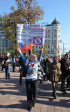 Pace marzo, il 21 settembre a Mosca, contro la guerra in Ucraina Immagini Stock Libere da Diritti