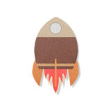 Pace rocket flying in space cut paper craft.  Royalty Free Stock Images