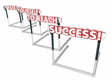 Pace Yourself to Succeed Hurdles Success Win. 3d Illustration Stock Photos