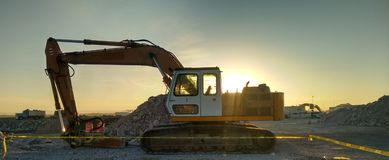 Sunset at construction Royalty Free Stock Photography
