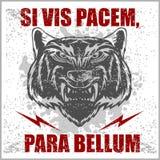 Pacem latin monochrome de force de la citation SI para bellum illustration libre de droits