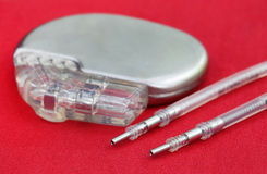 Pacemaker with Electrical Leads. Close up of a Pacemaker with Electrical Leads royalty free stock images