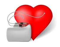 Pacemaker och röd hjärta Royaltyfri Foto