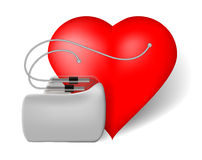 Pacemaker and red heart. Vector illustration on white background Royalty Free Stock Photo