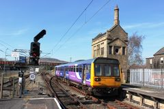 Pacer diesel multiple unit train at Carnforth Stock Images
