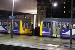 Pacer diesel multiple unit trains at Leeds station Stock Image