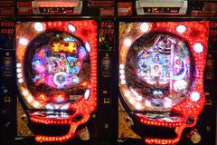 Pachinko. Machines in Osaka, Japan.  is a popular Japanese gambling game with annual industry turnover of US $300 billion Stock Photos