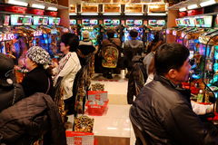 Pachinko parlor in Tokyo, Japan Royalty Free Stock Images