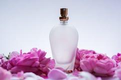 Pachnidło butelka w menchia kwiatu różach Wiosny tło z luxu fotografia royalty free
