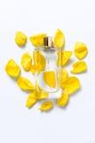 Pachnidło butelka z kwiatów płatkami na lekkim tle Mydlarnia, woni kolekcja Kobiet akcesoria Zdjęcia Stock
