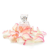 Pachnidło butelka z kwiatów płatkami na lekkim tle Mydlarnia, woni kolekcja Kobiet akcesoria Obrazy Royalty Free
