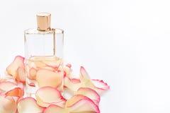 Pachnidło butelka z kwiatów płatkami na lekkim tle Mydlarnia, woni kolekcja Kobiet akcesoria Copyspace dla Zdjęcie Stock