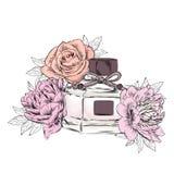 Pachnidło butelki wektor Modny druk Moda & styl perfumy Pachnidło akwarela ilustracja wektor