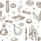 Pachnidło naturalnych składników bezszwowy wzór Aromatyczny jaśmin royalty ilustracja