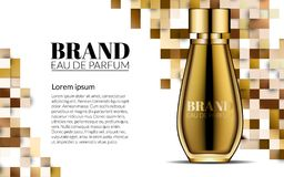 Pachnidło projekta Szklanej butelki kosmetyków produktu Luksusowa reklama dla katalogu magazynu Tło Projekt pakunek Obraz Royalty Free