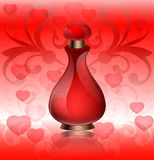 Pachnidło reklamy czerwona butelka z kierowym i kwiecistym ornamentem na roczniku deseniował tło Obraz Royalty Free